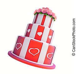three-story cake on a white background