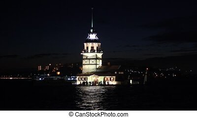 Maidens Tower in night - Maidens Tower Kiz Kulesi, Istanbul,...