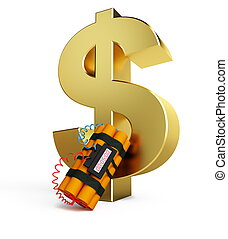 dollar crisis dynamite isolated on a white background