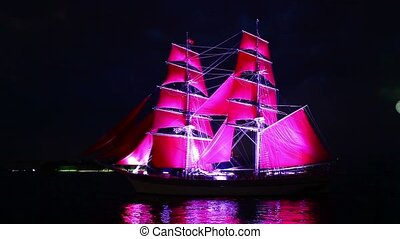 Sailing ship and fireworks - HD1080: Sailing ship and...