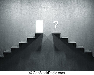 right and wrong way - 3d image of abstract concrete stairs