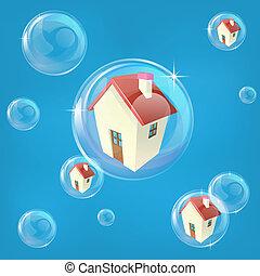 Housing bubble concept - Business or economics concept...