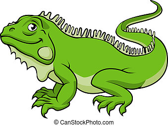 Cartoon Iguana Lizard - An illustration of a happy green...