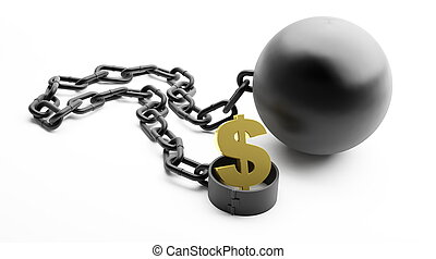 shackle dollar symbol on a white background