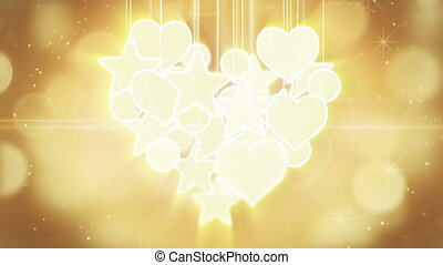 gold heart shape concept loop background luma matte