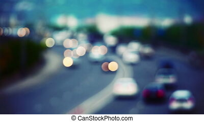 cars on road out of focus
