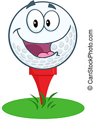 Happy Golf Ball Character Over Tee - Happy Golf Ball Cartoon...