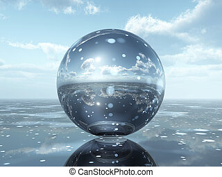 Glass Sphere - Computer generated 3D illustration with a...