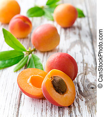 fresh apricots - Fresh apricots on wooden table