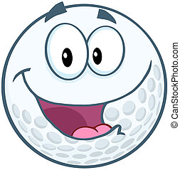 Happy Golf Ball Cartoon Character