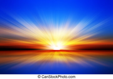 explosion - Sunset over the sea Blue sky Red horizon Yellow...