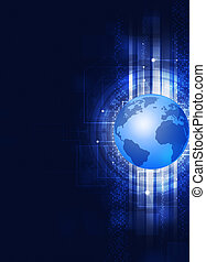 Globe Technology Abstract Blue Background - abstract digital...