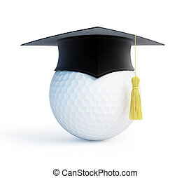 golf school graduation cap isolated on a white background