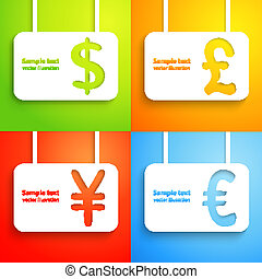 Paper currency signs - dollar, euro, yen and pound.