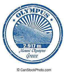 Mount Olympus stamp - Grunge rubber stamp with the Mount...