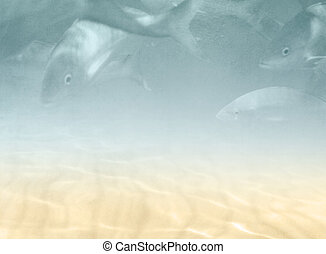 Underwater background with fishes