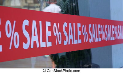 Shop Window Sticker SALE % - Advertising red retail shop...