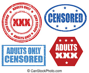 Adults only - Set of grunge rubber stamps with text Adults...