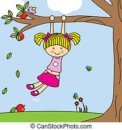 Girl playing on a tree swing