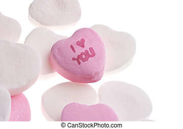 Valentines Day Candy Hearts Isolated on White Background