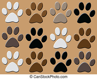 Animal paws - Background with animal paws,vector...