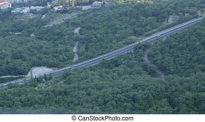 Aerial view of highway - Overlooking the Black Sea littoral...