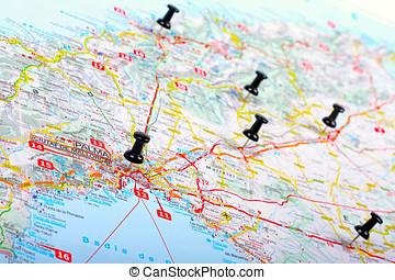 pushpins shows destination points on a map