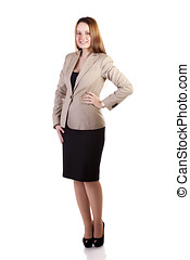 Smiling businesslady full body isolated on white background...