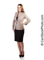 Smiling businesslady full body isolated on white background...