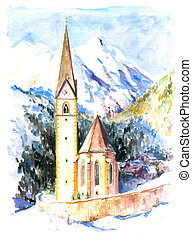 Church Heiligenblut in mountains watercolor painted.Picture...