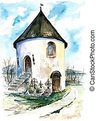 Chapel - White,cemetery chapel in Maria Woerth watercolor...
