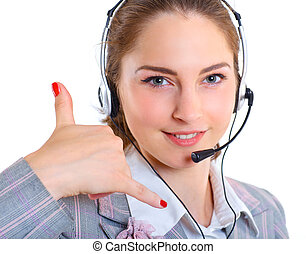 Young business woman with headset - Portrait of beautiful...