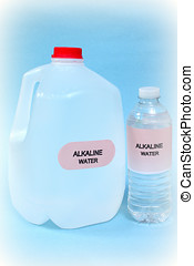 alkaline water - plastic bottles of fresh alkaline water on...
