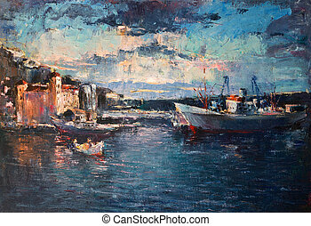 Sunset Over the Port on Black Sea - An oil painting on...