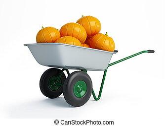 wheelbarrow pumpkins isolated on a white background