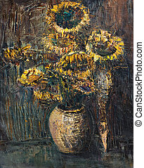 Withered Sunflowers Bouquet on Dark Brown Background - An...