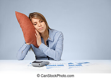 Relaxation in work (burnout) - Woman having a rest (sleep,...