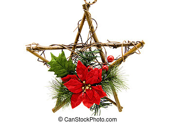 Christmas flower with wooden star