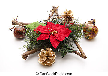Christmas flower   - Christmas flower with wooden star