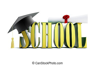 school and graduation cap isolated on a white background