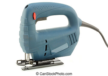 Professional Electric Jig Saw with round handle on white...
