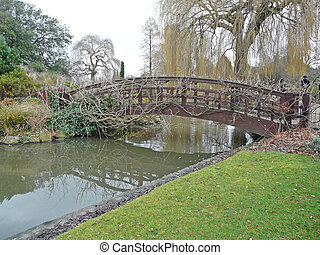 Arched bridge on a winter\\\'s day in Regent\\\'s Park in...