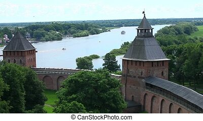 View of the old fort - HD1080: View on the river Volkhov...