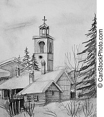 Pencil Drawing of Old Church in Bansko - Pencil black and...