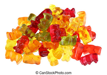 Colorful fruity Gummy Bears - Assortment of colorful fruity...