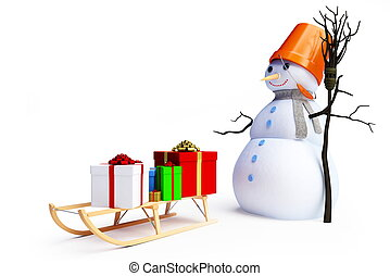 snow man and sledges with gifts
