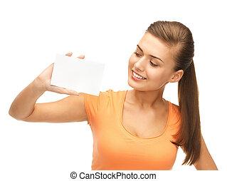 女, 保有物, ブランク, 微笑, 白, カード
