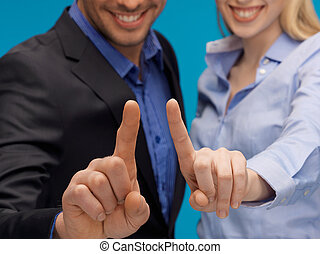 man and woman hands pointing at something - picture of man...