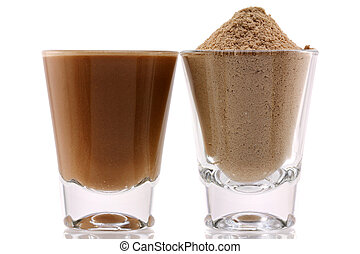 Fine Protein Powder with Chocolate - Closeup photo of fine...