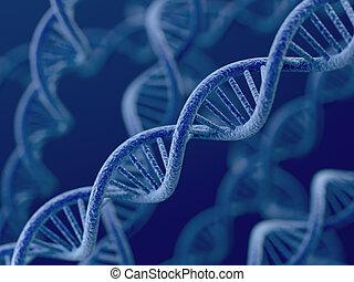 DNA on blue background - 3d render of DNA on blue background...